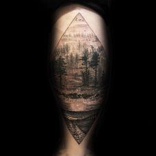 自然之光,小腿森林风景纹身图案