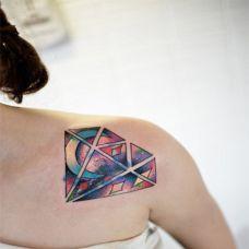 彩色钻石纹身图案大全