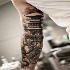 亭台楼阁,手臂个性水墨山水纹身团