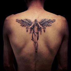 背部天使纹身图案推荐