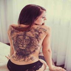 背部女图腾纹身图片