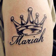 手臂皇冠英文纹身图案