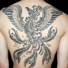 背部凤凰图腾纹身图案