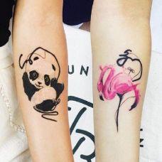 手臂情侣熊猫纹身图案
