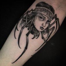 蜘蛛女郎,感受另类的美丽手臂纹身图案