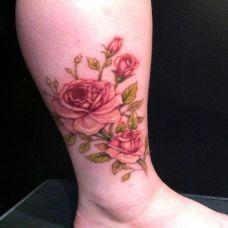 纹身图案玫瑰花脚踝图片