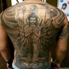 男士满背千手观音纹身