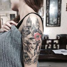 女生手臂城堡美女头像纹身
