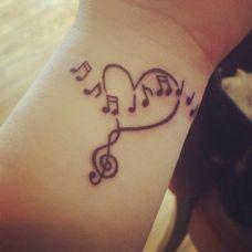 手腕漂亮的音符纹身图案