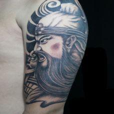 手臂关公纹身图案精选图片