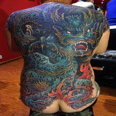 龙腾盛世,满背霸气青龙纹身图案