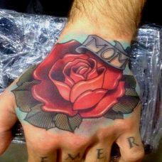 手背纹身玫瑰图片大全