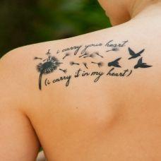 简约纹身图案女蒲公英图片