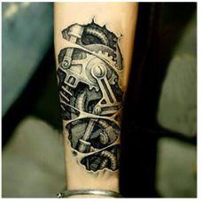 男生帅气小臂机械图片纹身