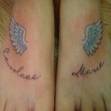 好看的翅膀纹身脚背上纹身女图片