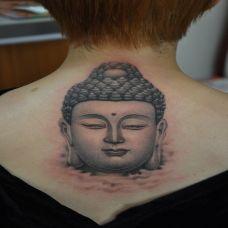 佛头纹身脖子图片欣赏