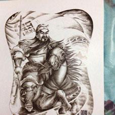 战马关公半臂纹身图片手稿超酷