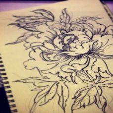 牡丹花纹身图案男手搞图片