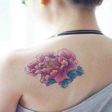 牡丹花后背纹身图片素材