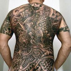 超牛霸气的满背关公纹身图片大全