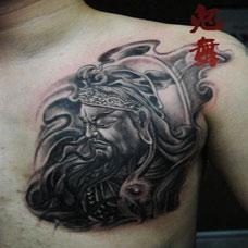 男生胸口纹身图案关公霸气图片