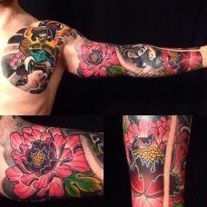 超好看的半甲花臂纹身图片