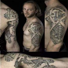 欧美手臂机械纹身图案大全超炫