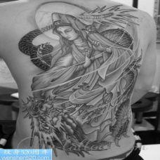 个性的观音后背纹身图案大全