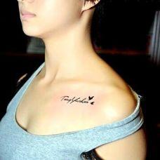 锁骨纹身图案女生小清新图片