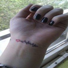 女生心电图爱纹身图片