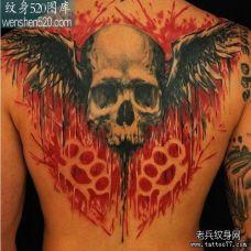 满背骷髅个性翅膀纹身图案