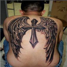 男士背部霸气恶魔翅膀纹身图案作品