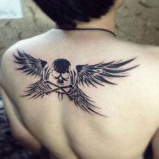女生背上性感的翅膀纹身图案