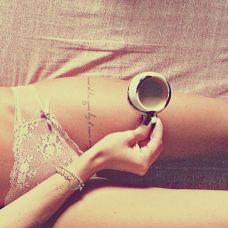 欧美女生大腿性感英文纹身图案大全