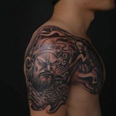 男生经典图腾关公半甲纹身图案大全