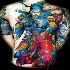 男生霸气彩色满背关公纹身图案大全