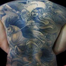 酷酷的男生满背关公纹身图案大全