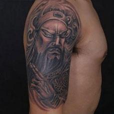 个性肖像手臂关公纹身图案欣赏