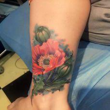 爱上美丽的毒药,手臂罂粟花彩绘纹身