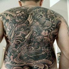 炫酷的满背关公纹身图案大全