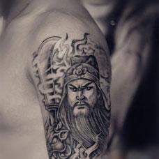 男生胳膊霸气关公纹身图片大全