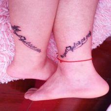 个性脚踝情侣英文纹身图片大全