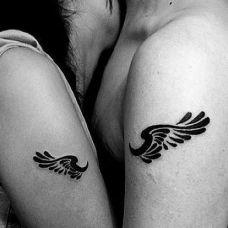 手臂翅膀情侣图腾纹身图案大全