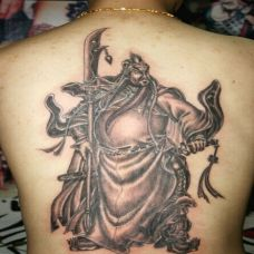 经典图腾满背关公纹身图片大全