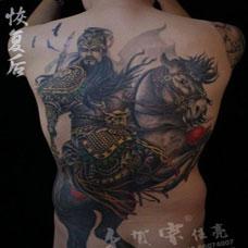 霸气的满背d关公纹身图案大全