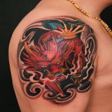 男士手臂帅气麒麟纹身图案精选