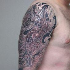 男生手臂帅气龙纹身图案大全