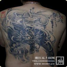 霸气独角貔貅图案满背纹身作品