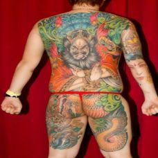 超帅的彩色大满背钟馗纹身效果图