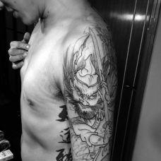 男士大臂霸气钟馗纹身图案欣赏